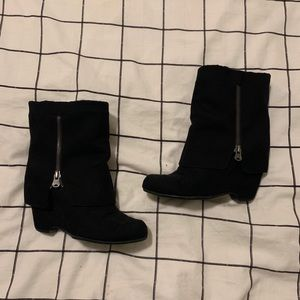 MIA Heeled Black Suede Ankle Boots